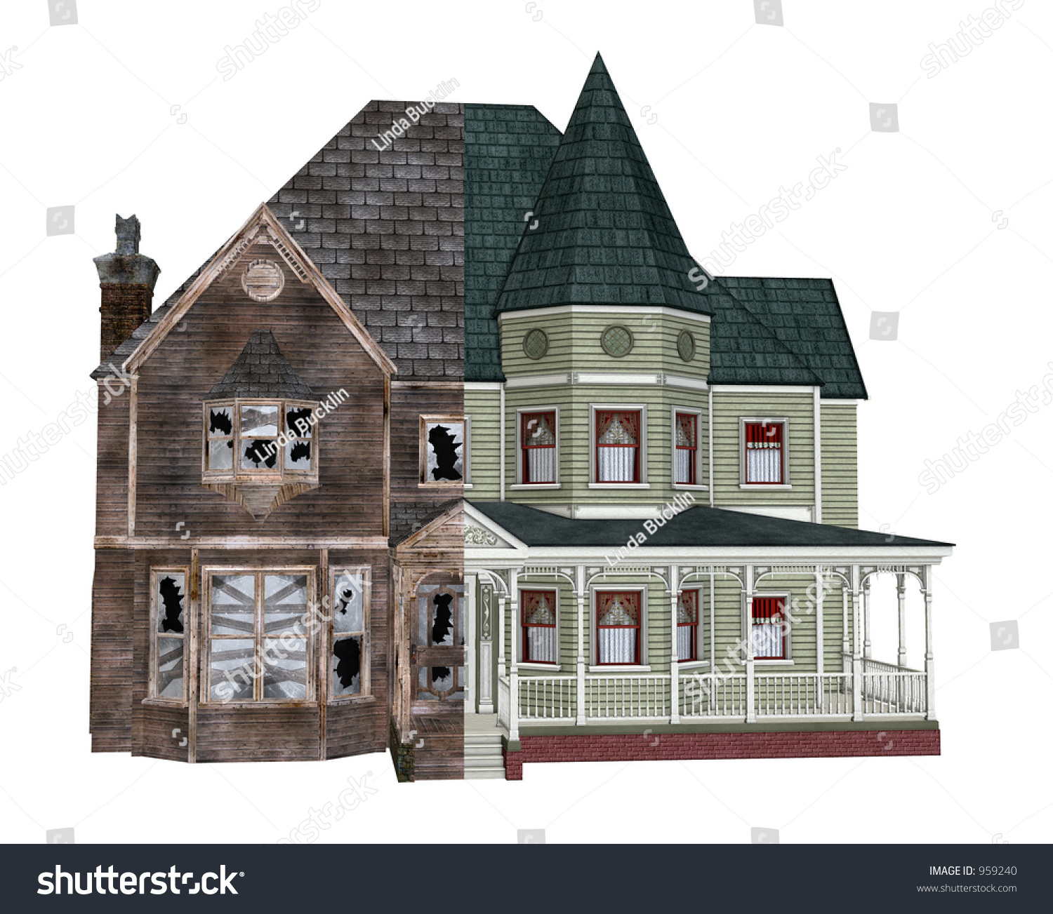 3d Render Depicting A Rundown Victorian Home Before And