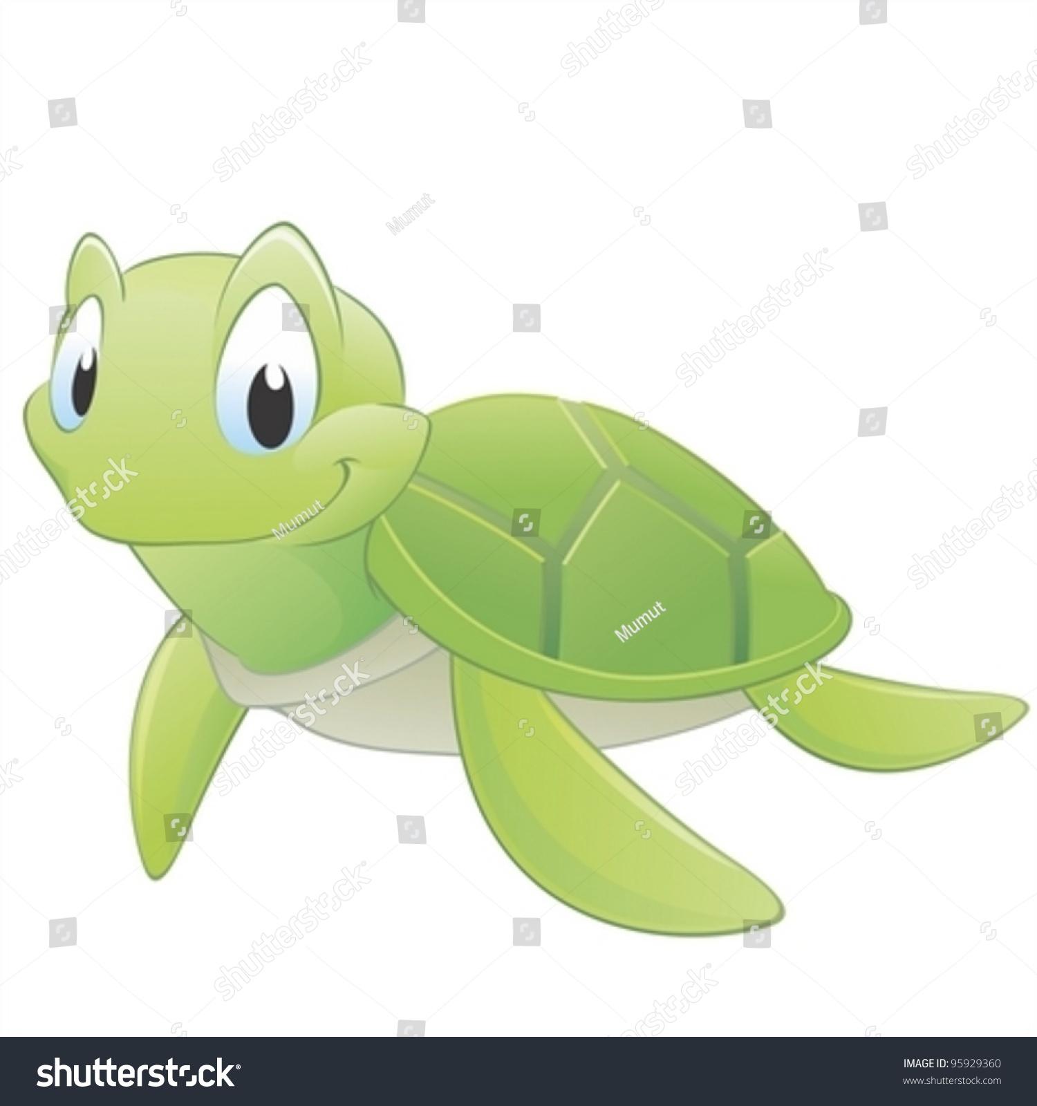 Cute cartoon turtle with big eyes - photo#11