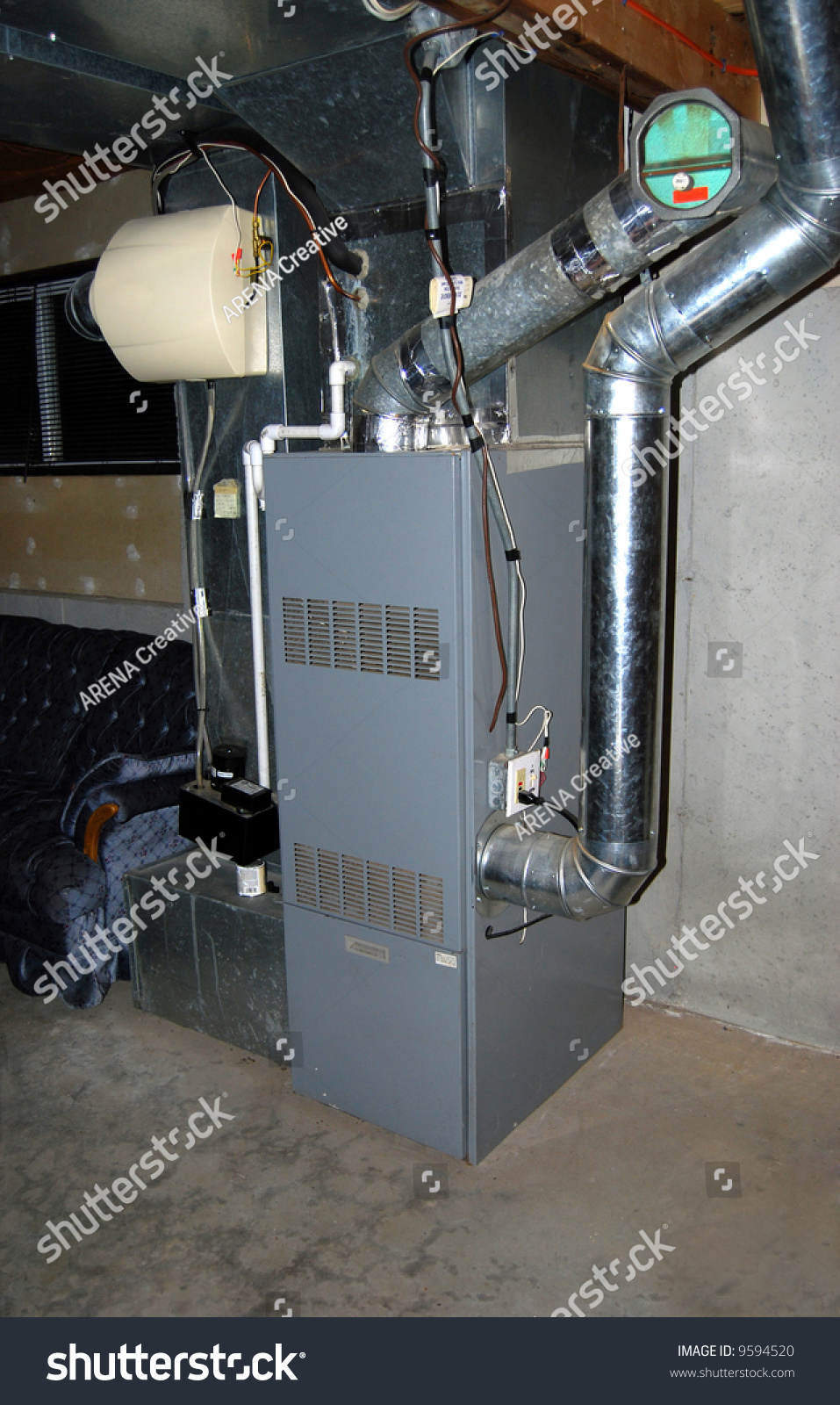 Residential Oil Furnace Forced Hot Air Stock Photo 9594520