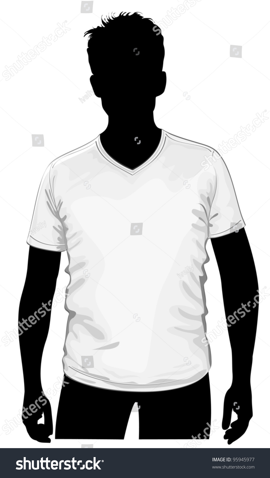 Vector Mens Vneck Tshirt Template Human Stock Vector 95945977 ...