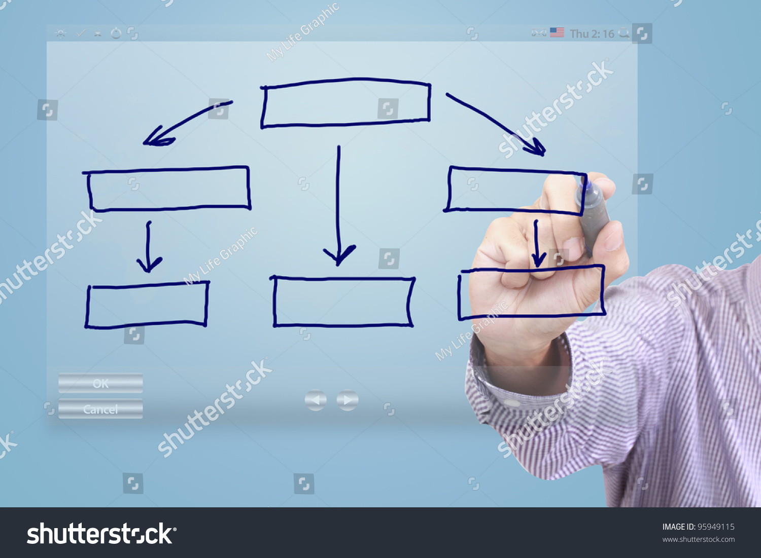 Flowchart Diagram Hand Drawing On Touch Stock Illustration 95949115 ...