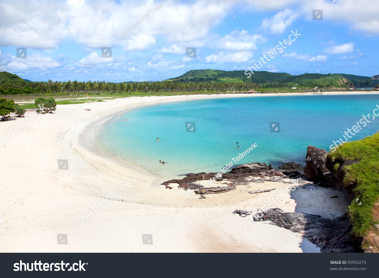 Tanjung Indonesia  City pictures : Long Tanjung Aan White Sand Beach, Lombok, Indonesia Stock Photo ...