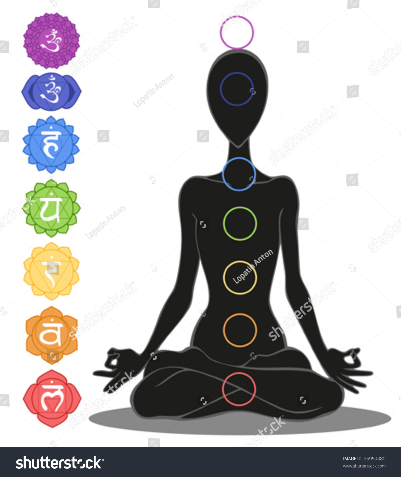 Man Silhouette Yoga Position Symbols Seven Stock Vector Royalty