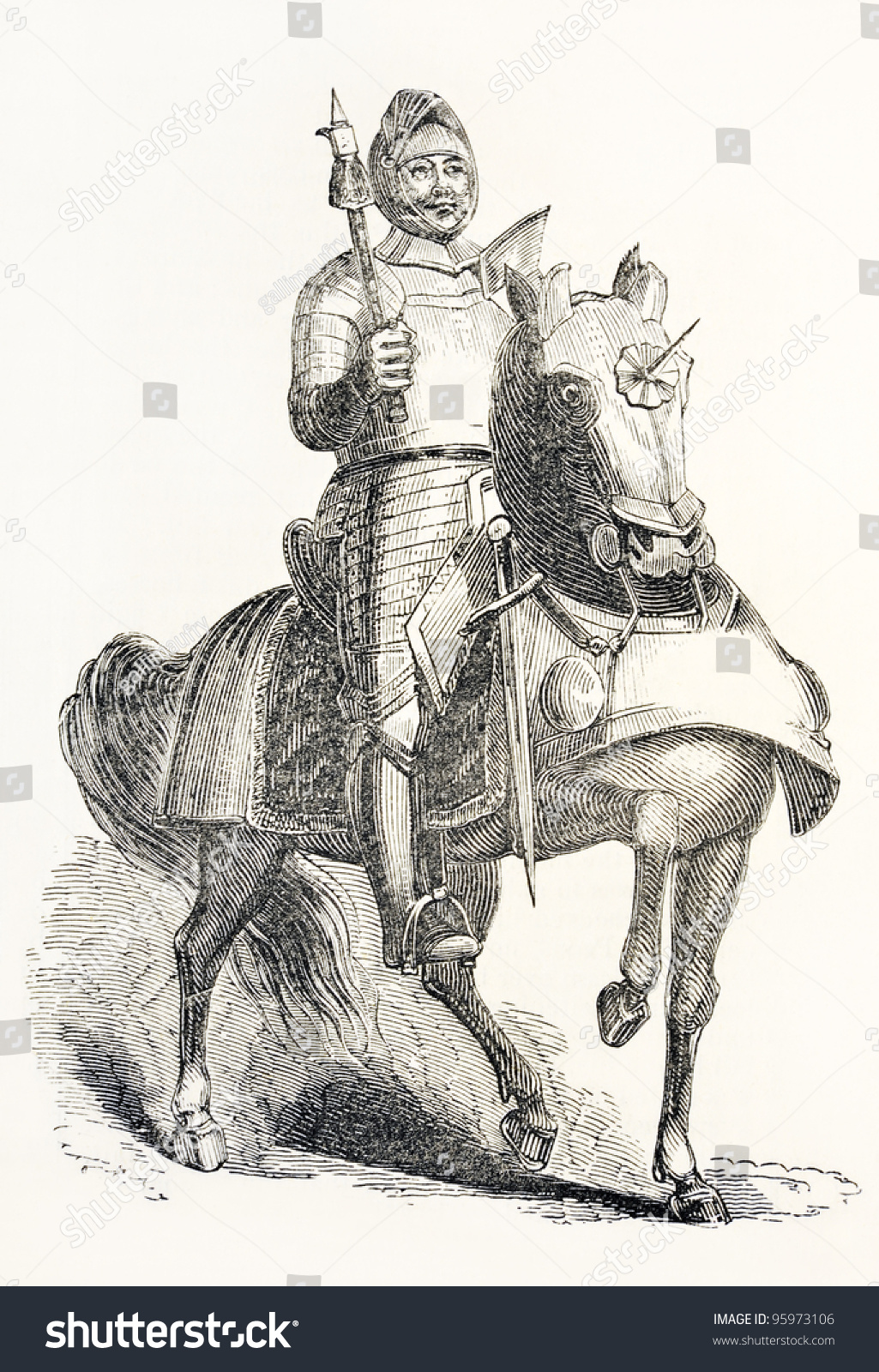 Engraving Of Medieval English Knight On War Horse, From ...