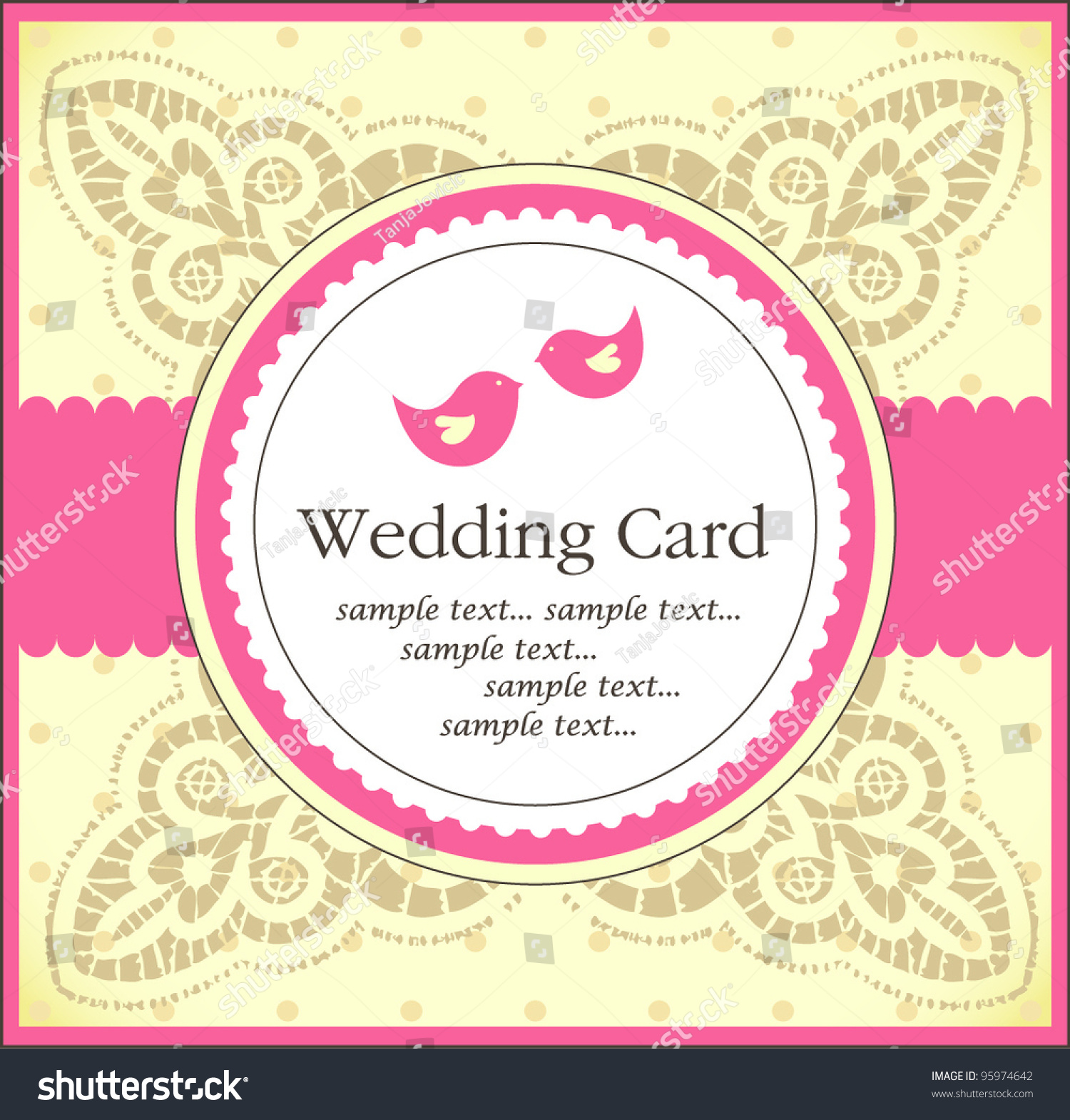Cute Wedding Invitation Card Vector 95974642 Shutterstock – Cute Wedding Invitation Cards