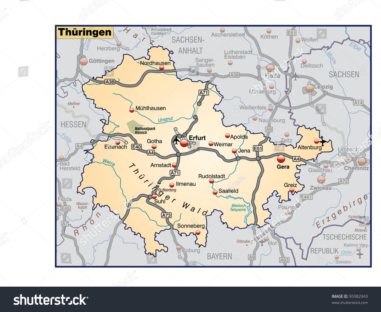 Thuringia Surrounding Area Stock Illustration 95982943 Shutterstock