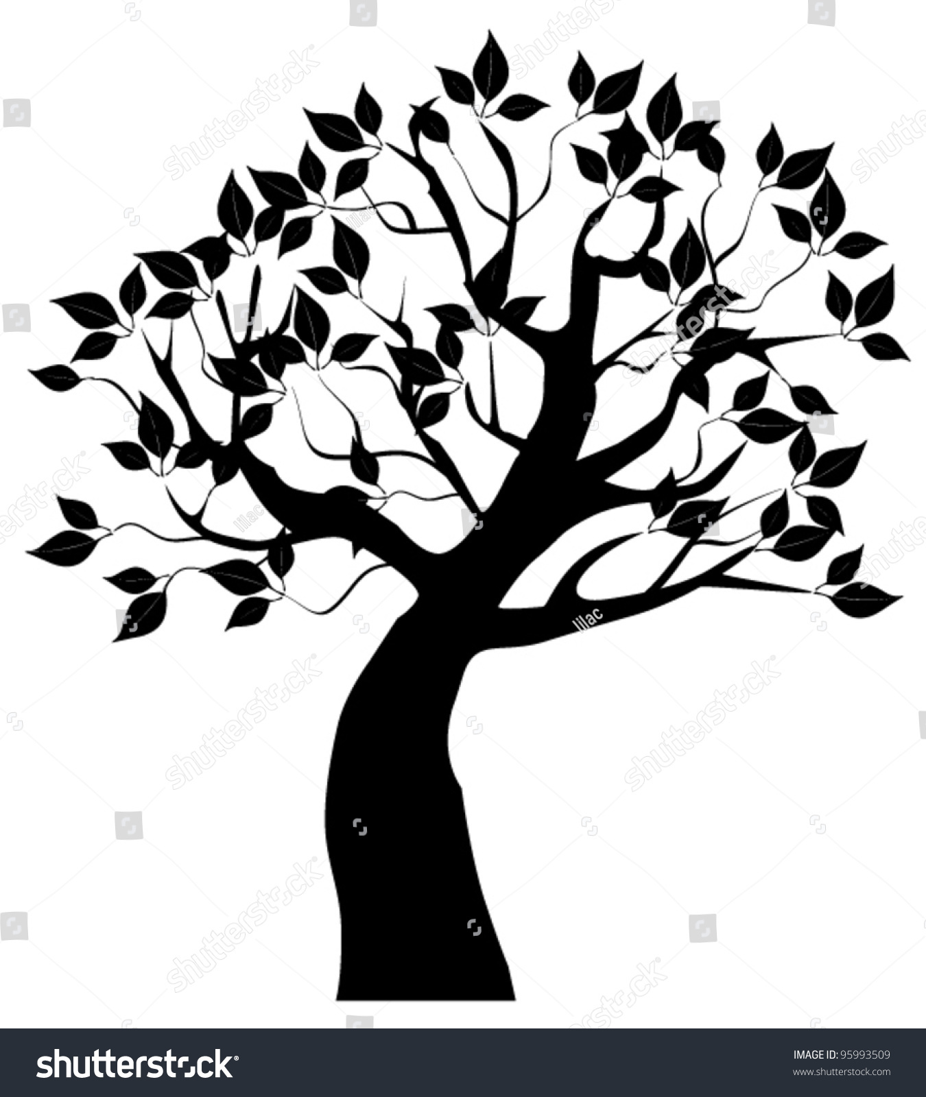 vector tree silhouette leaves stock vector 95993509