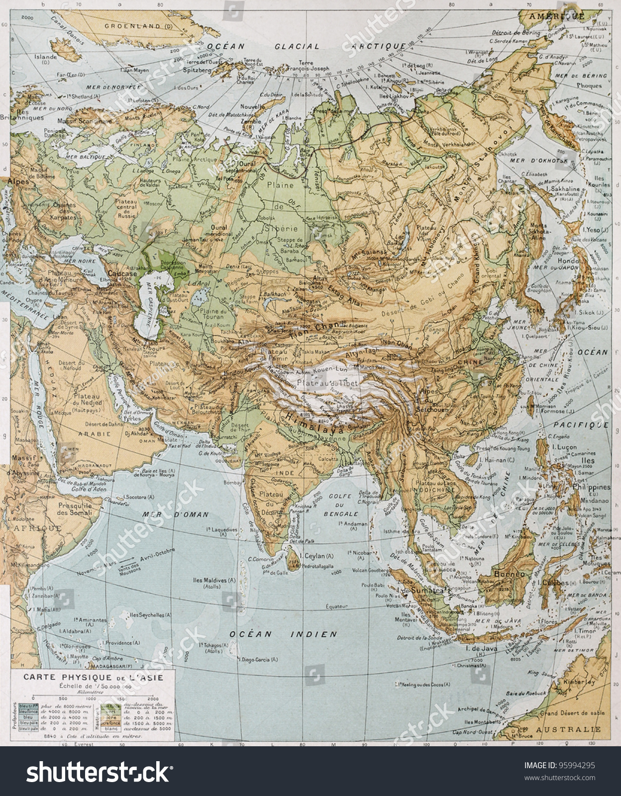 Asia Physical Map By Paul Vidal Stock Photo (Edit Now) 95994295 ...