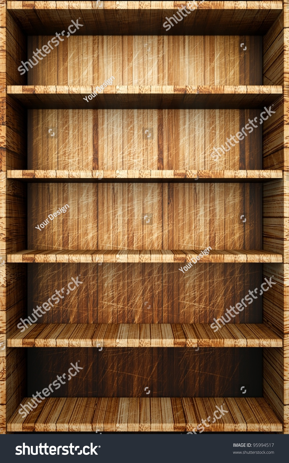 Wooden Bookcase Empty Bookshelf Stock Illustration
