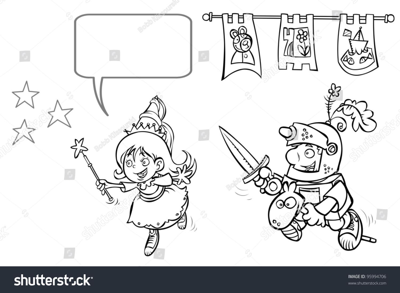 little princess enchantress knight boy outline stock illustration