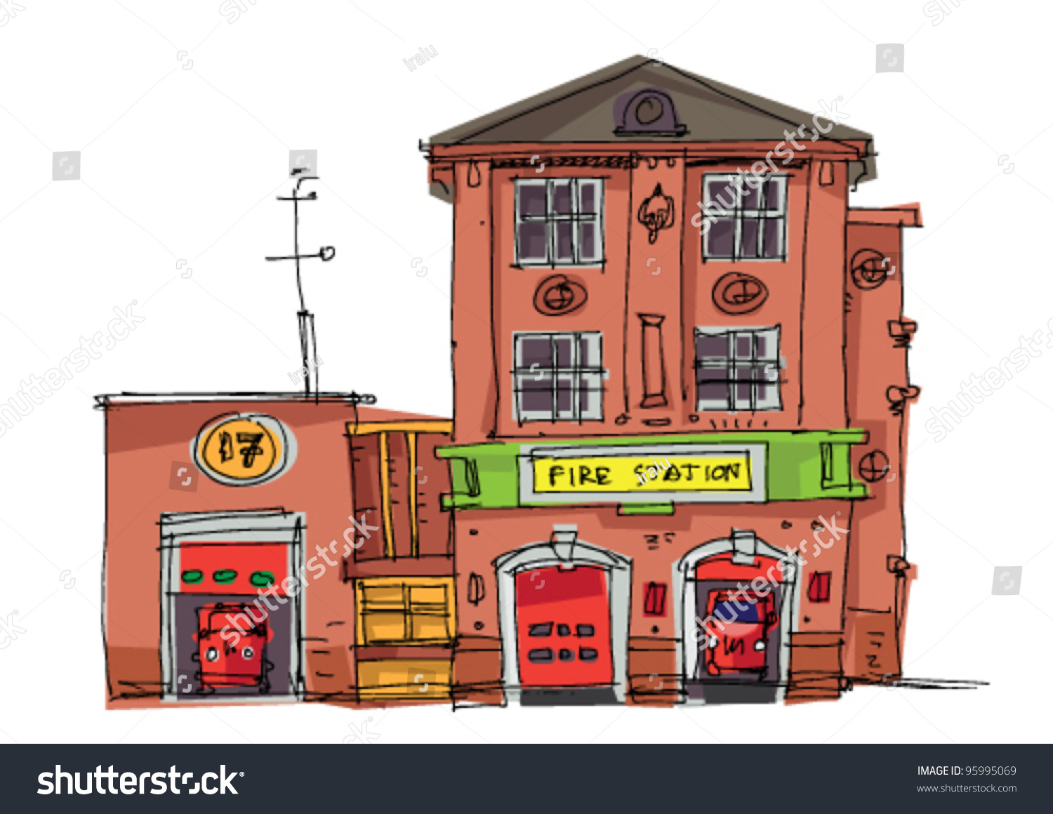 vintage fire station cartoon stock vector 95995069