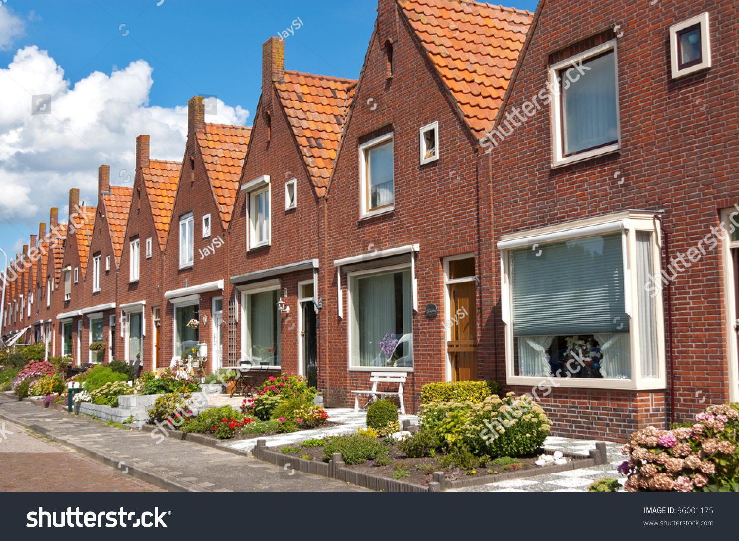 Typical Dutch Family Houses Modern Architecture Stock
