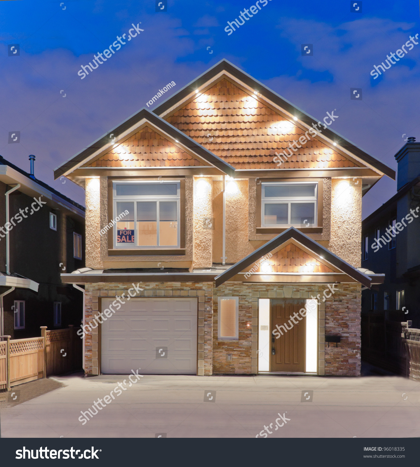 Brand new house sale suburbs dusk stock photo 96018335 for Pitchers of houses for sale