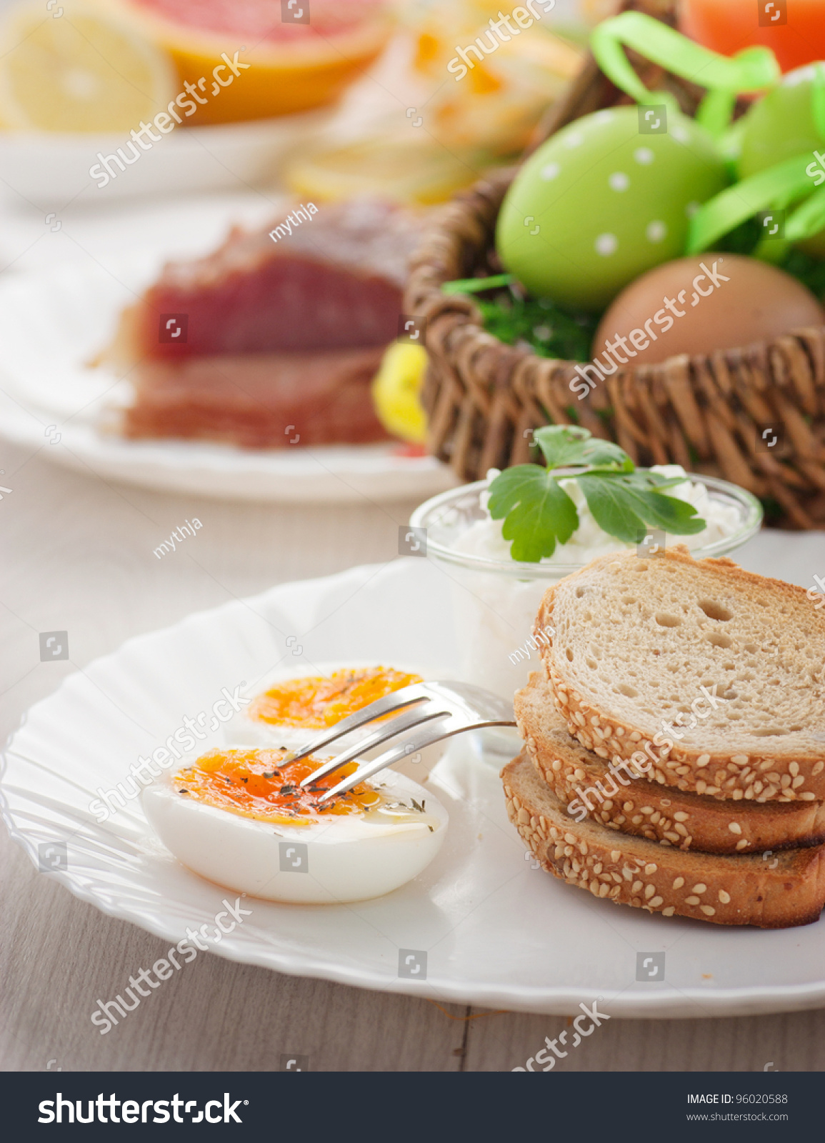 Table Setting For Breakfast Traditional Easter Breakfast Table Setting Boiled Stock Photo