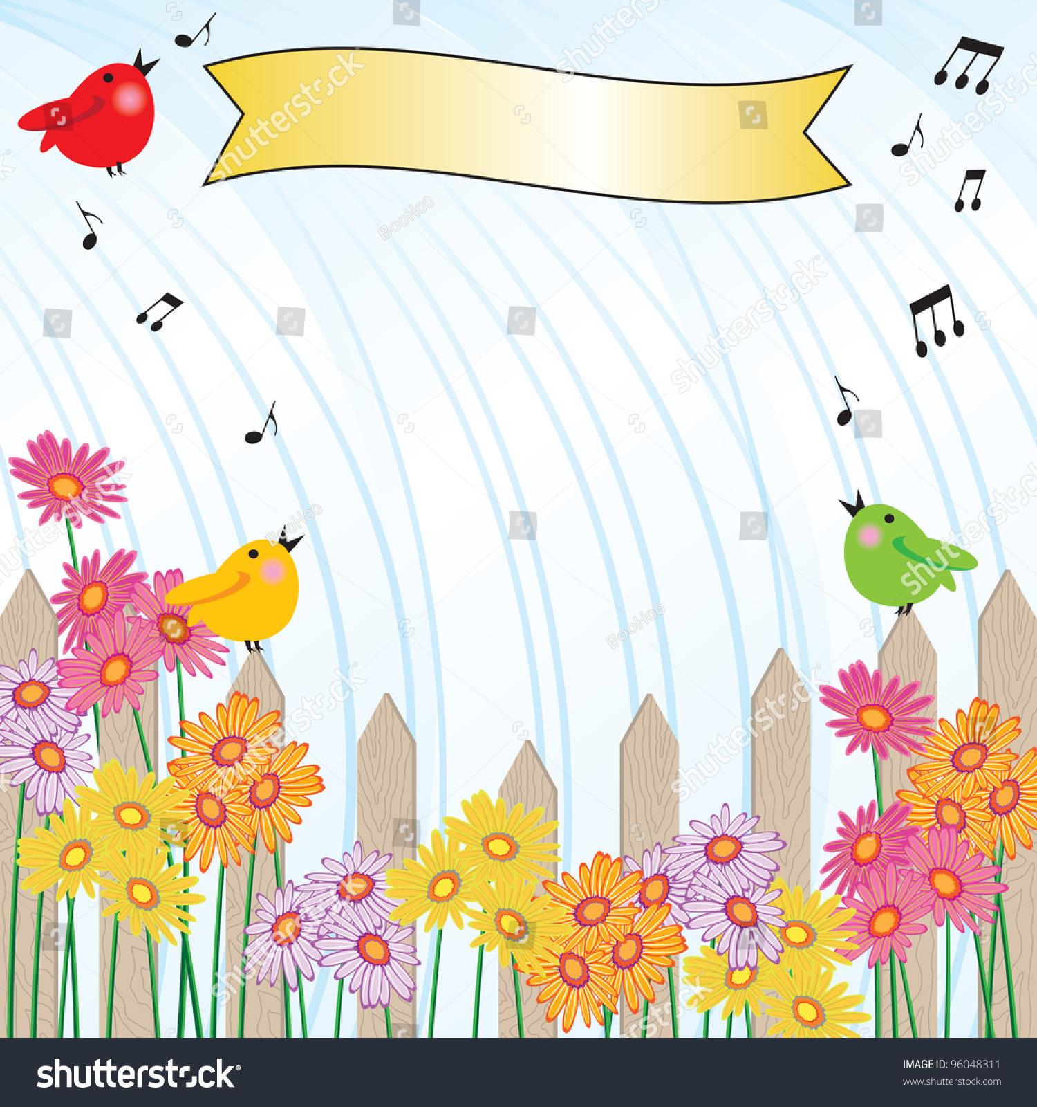 singing rain invitation picket fence brightly stock vector