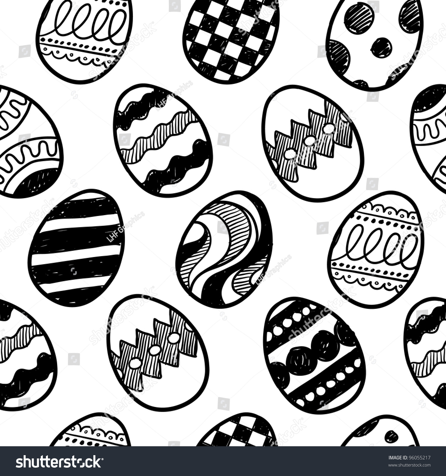 Doodle Style Seamless Background Of Easter Eggs Pattern Will Tile