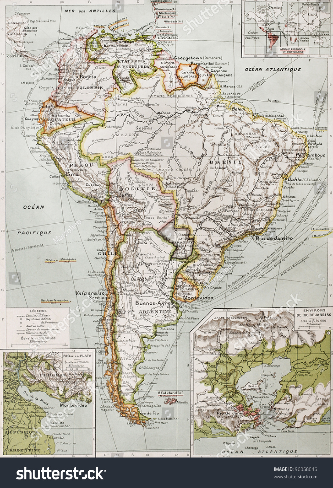 Southern America Old Map Rio De Stock Photo (Edit Now) 96058046
