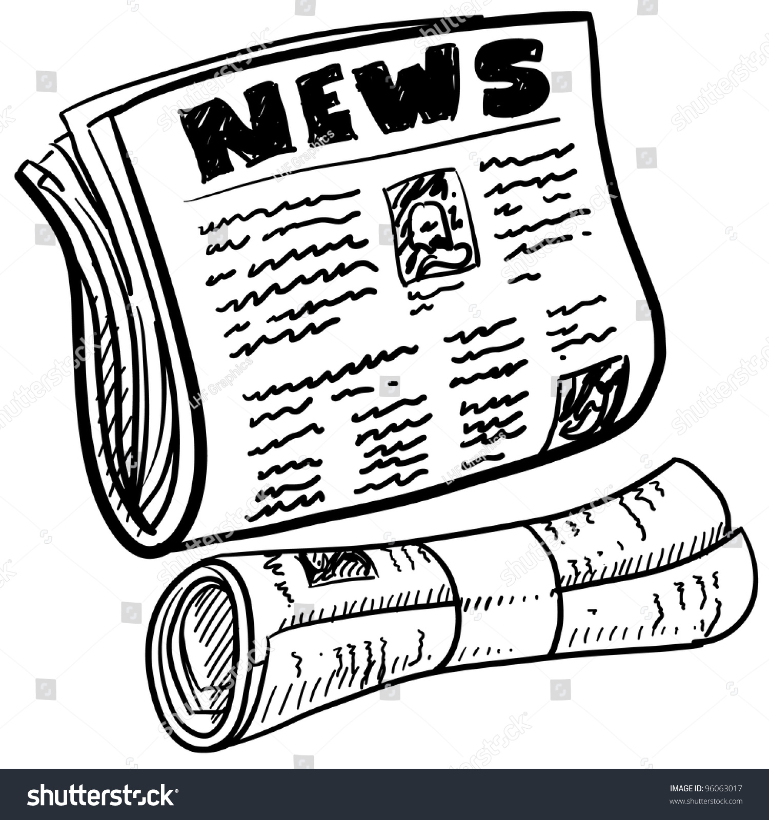 doodle style newspaper illustration vector format stock vector