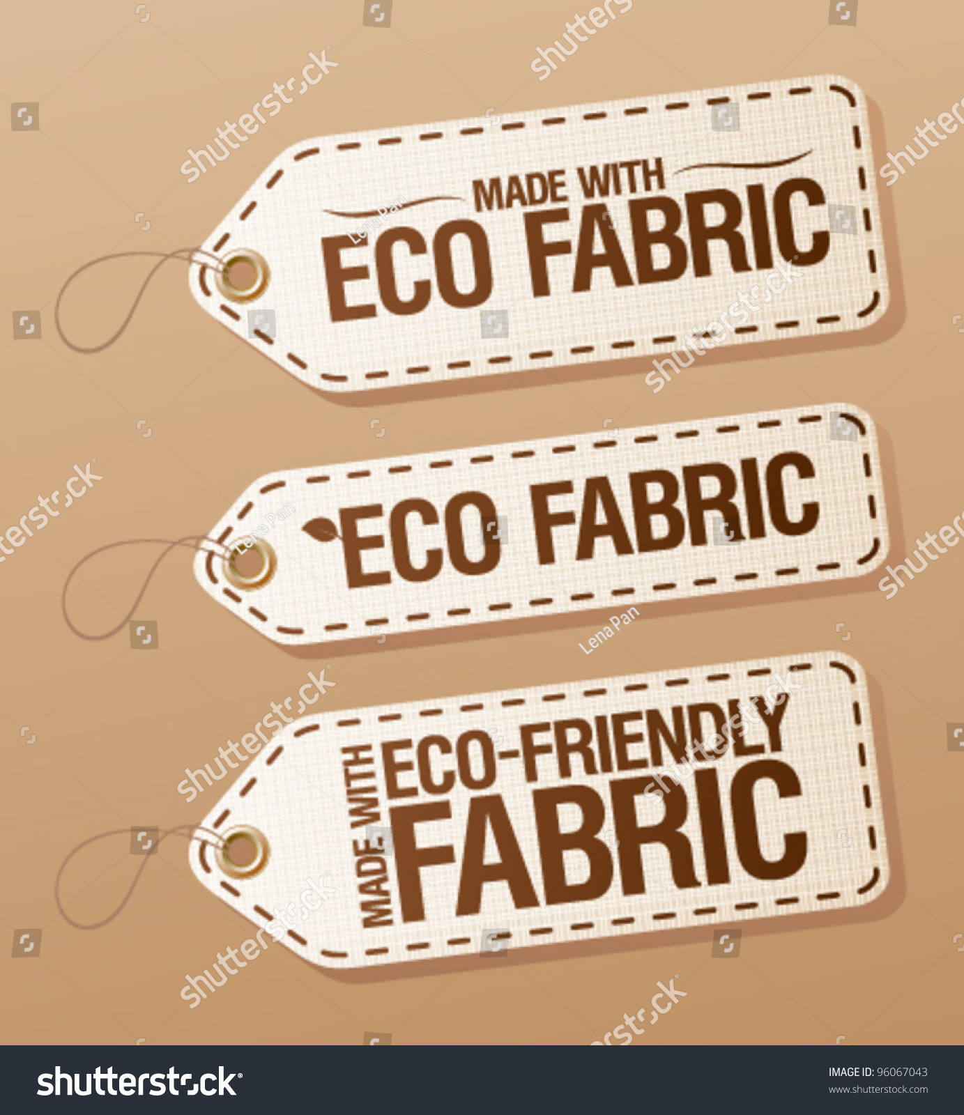 Made Ecofriendly Fabric Labels Collection Stock Vector