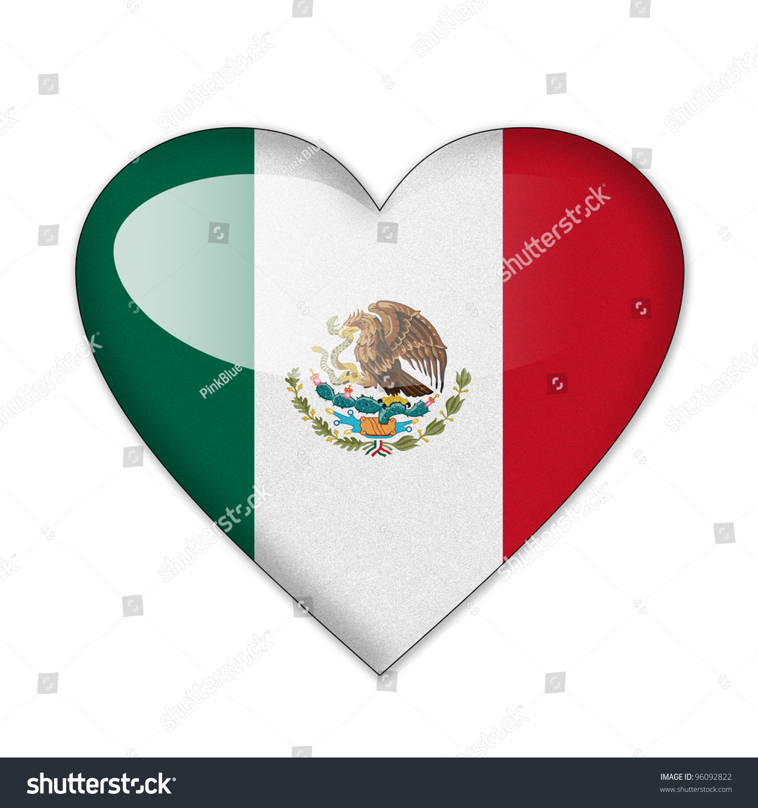 Mexico Flag Heart Shape Isolated On Stock Illustration 96092822