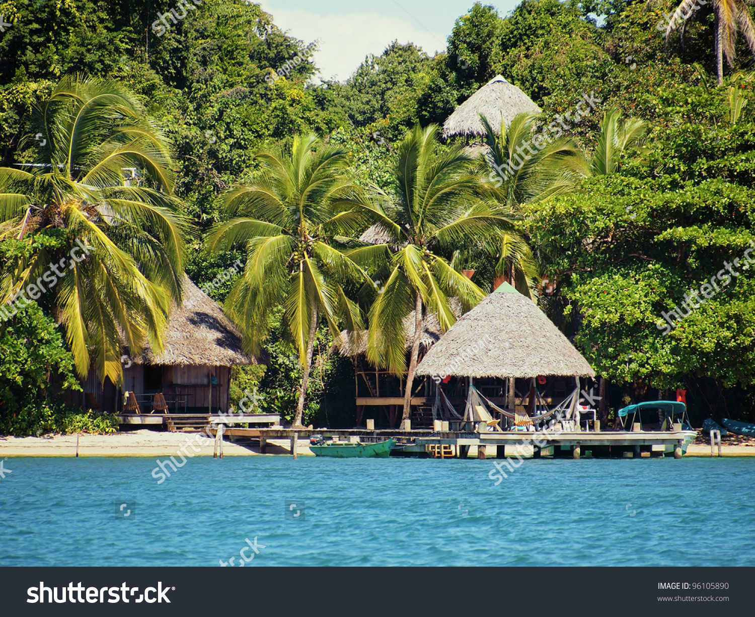 Tropical Beach Huts: Eco Resort On A Caribbean Beach With Thatched Huts And
