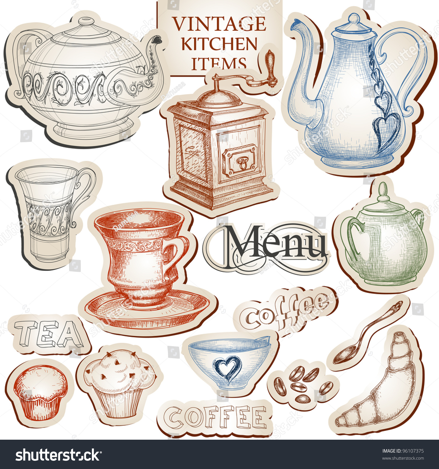 Vintage Kitchen Tools And Food Icons Vector