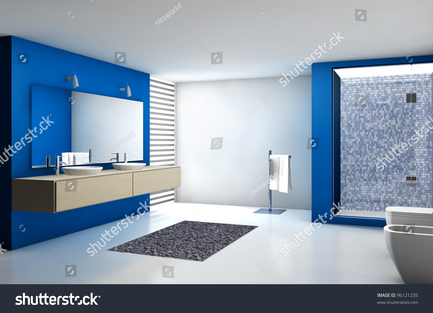 Modern blue and white bathroom - Save To A Lightbox