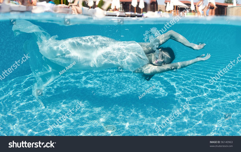 Girl Swimming Underwater Swimming Pool Stock Photo