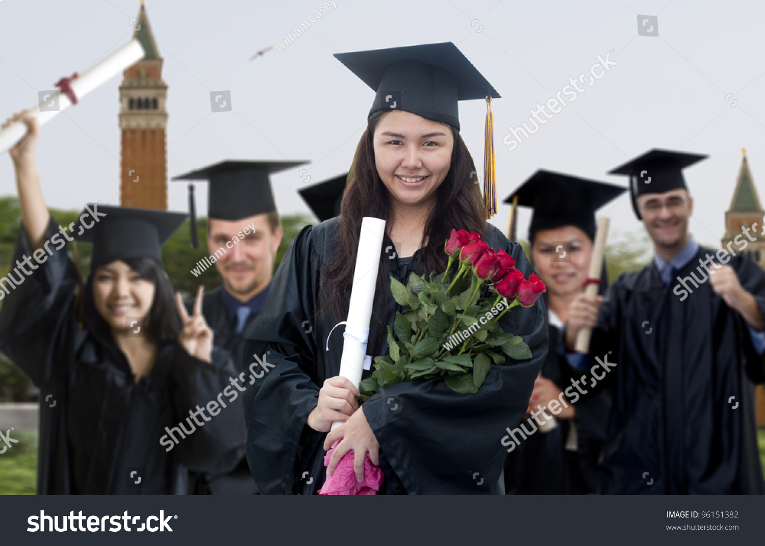 Young Woman Graduation Cap Gown Holding Stock Photo (Edit Now ...