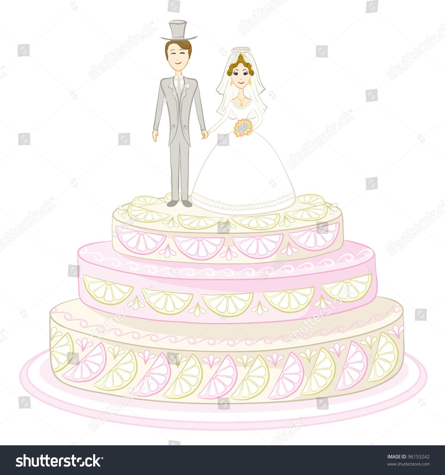 Holiday Wedding Pie Bride Groom Figurines Stock Illustration ...