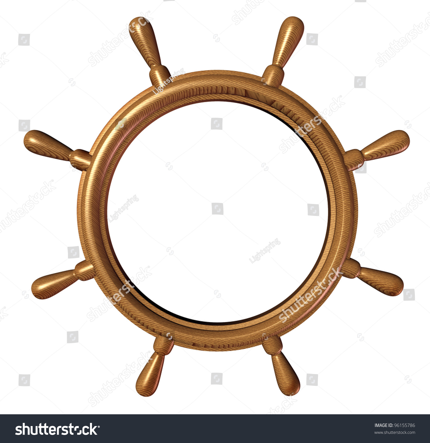 Ship wheel design element with a blank editable center as boat steering and  nautical control symbol