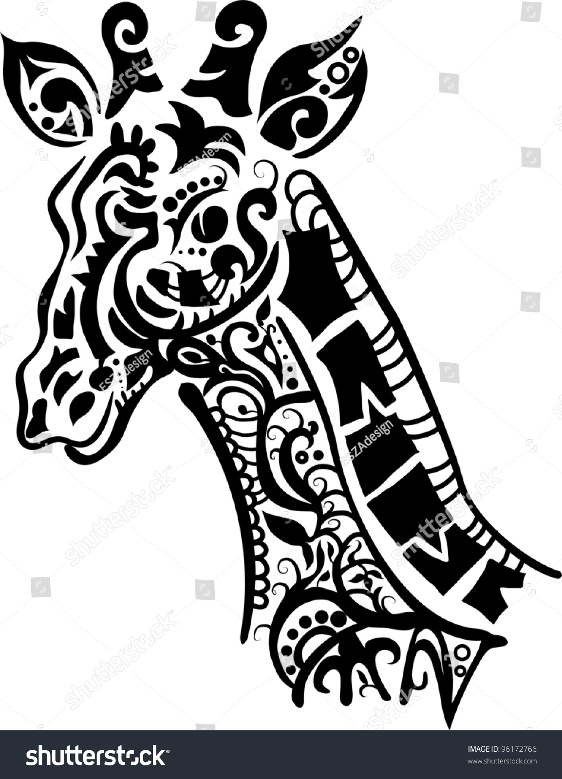 decorative giraffe silhouette isolate on white stock vector
