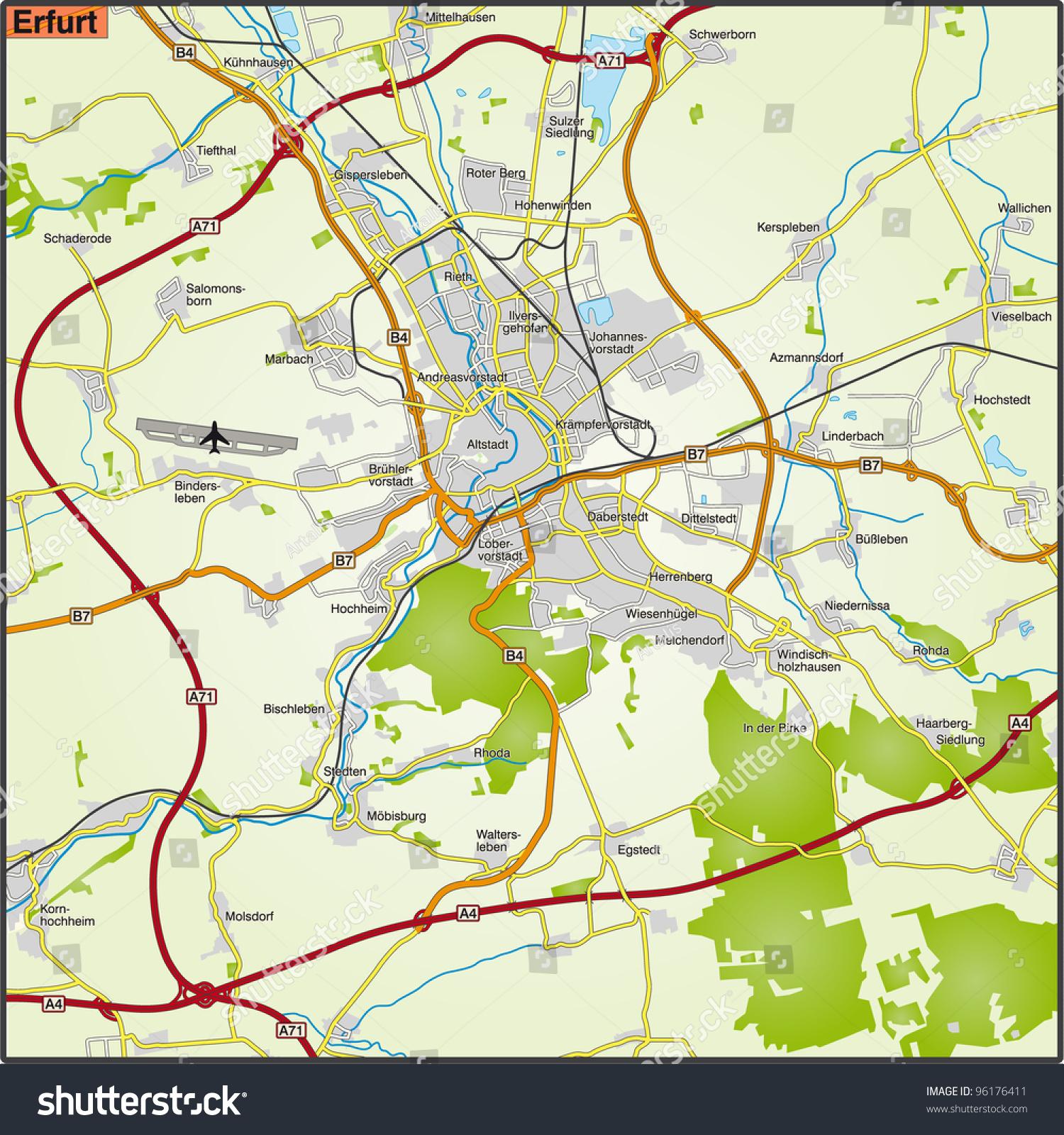 Map Erfurt State Capital Thuringia Stock Illustration 96176411