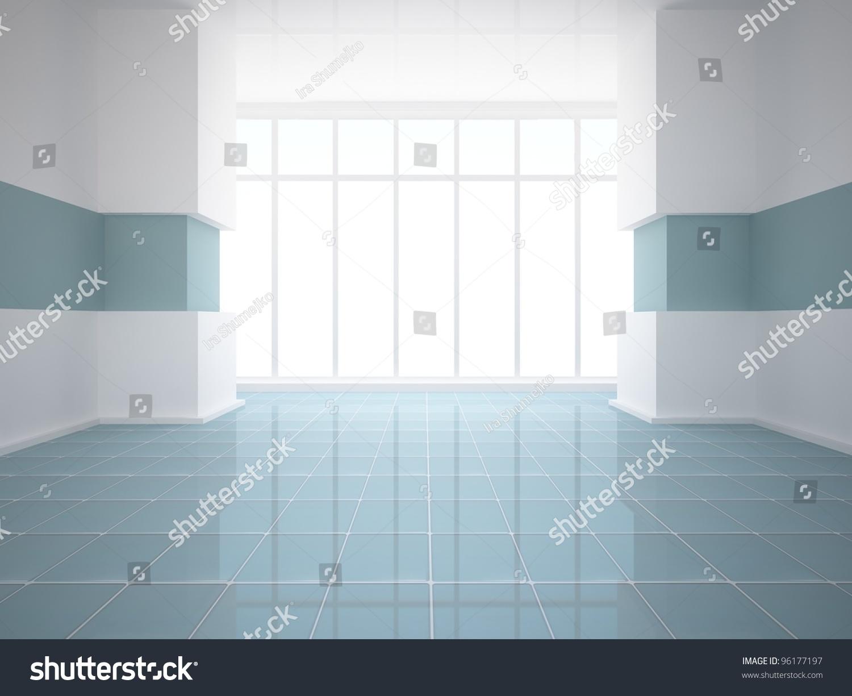 Empty White Room Blue Tiled Floor Stock Illustration 96177197 ...