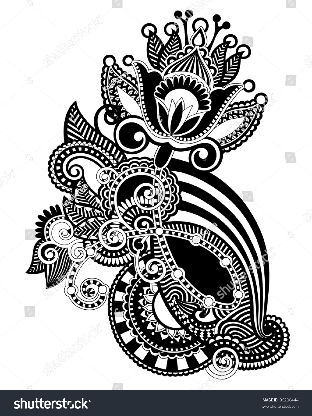 Traditional Flower Line Drawing : Hand draw line art ornate flower stock vector