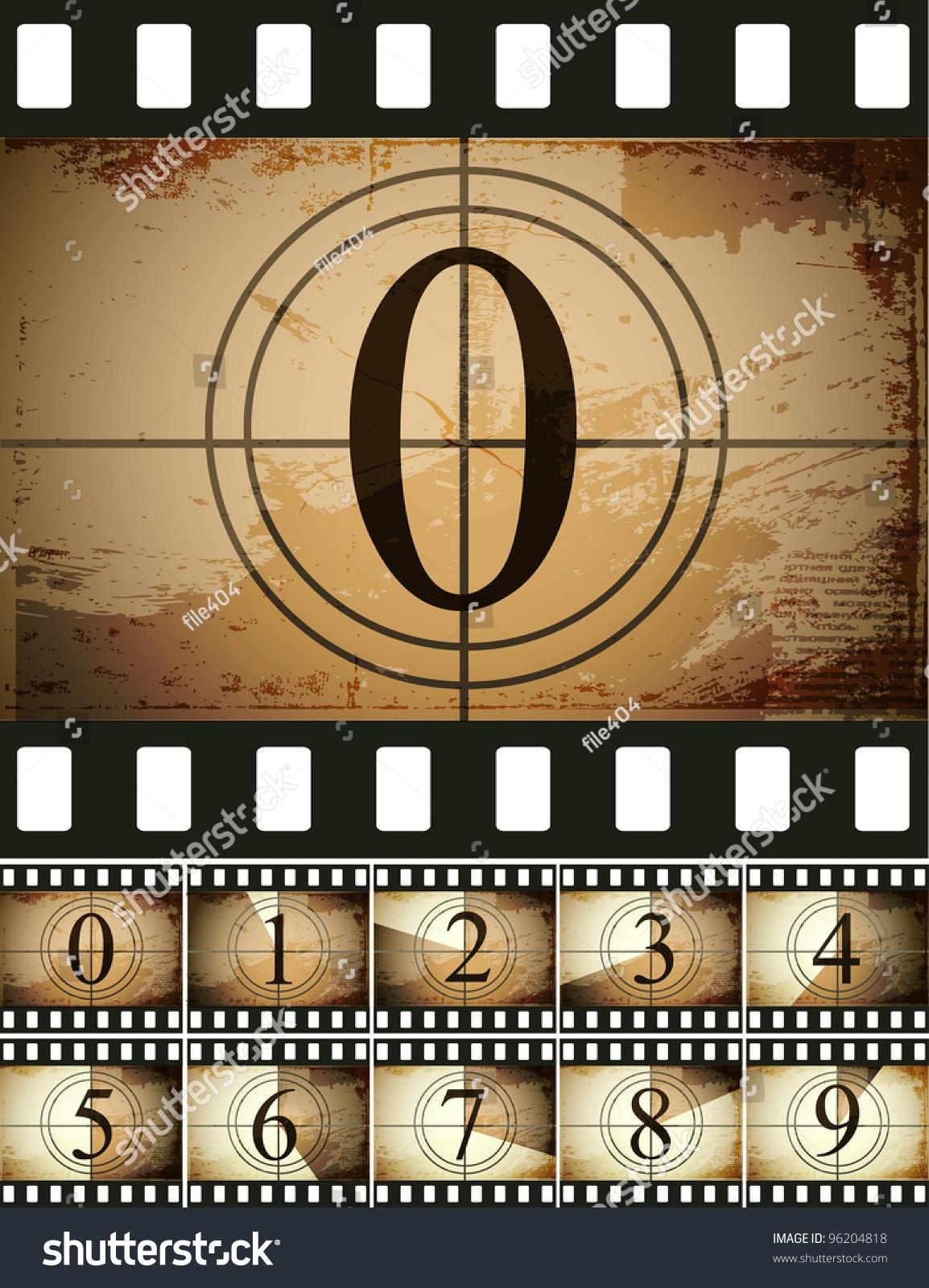 Film Countdown: Grunge Film Countdown Stock Vector Illustration 96204818