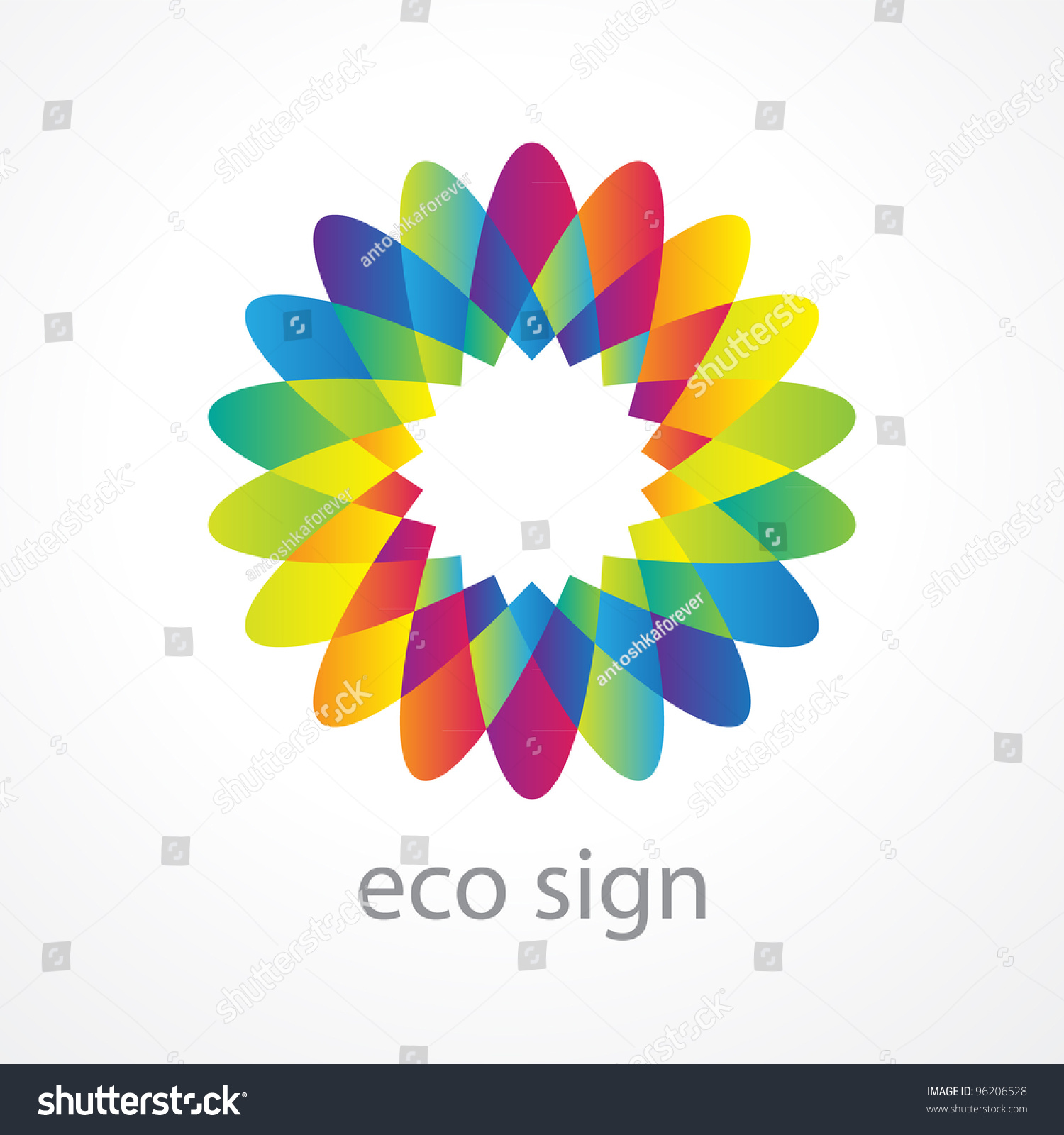 Sign Environment Stylized Flower Multicolored Petals Stock Photo