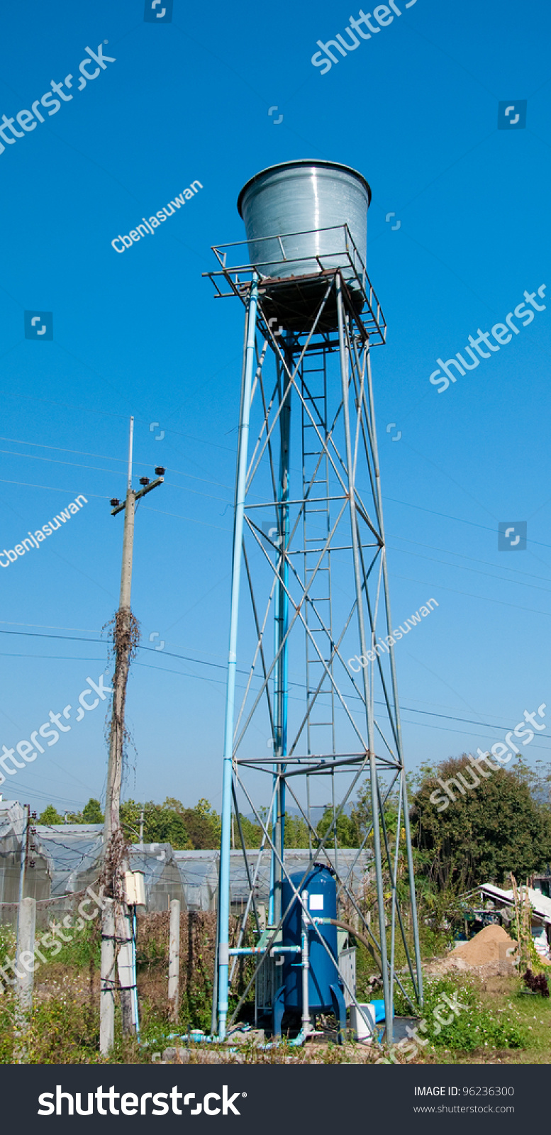 The tower of water tank in farm stock photo 96236300 for Farmhouse tower