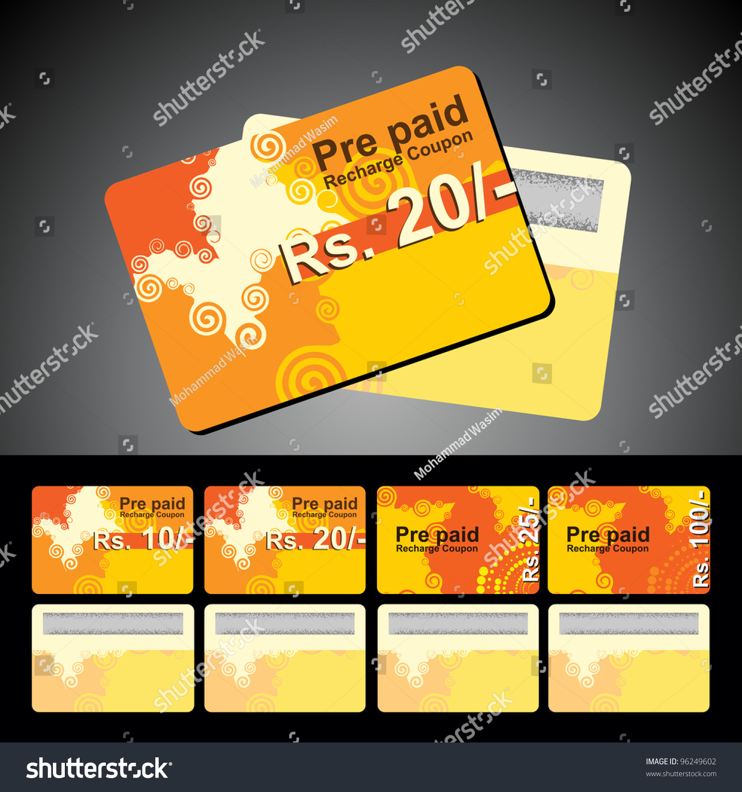Abstract Mobile Recharge Card Isolated Stock Vector