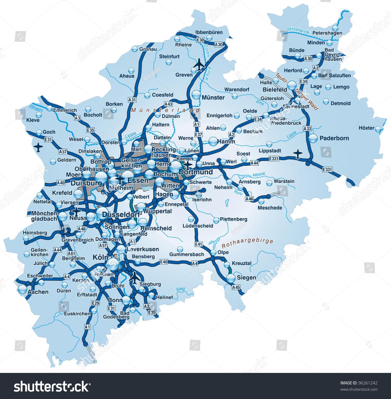 Map North Rhine Westphalia Highways Stock Illustration 96261242