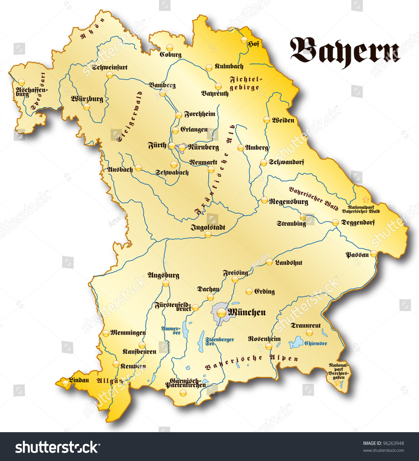 Map Bavaria Stock Illustration 96263948 Shutterstock