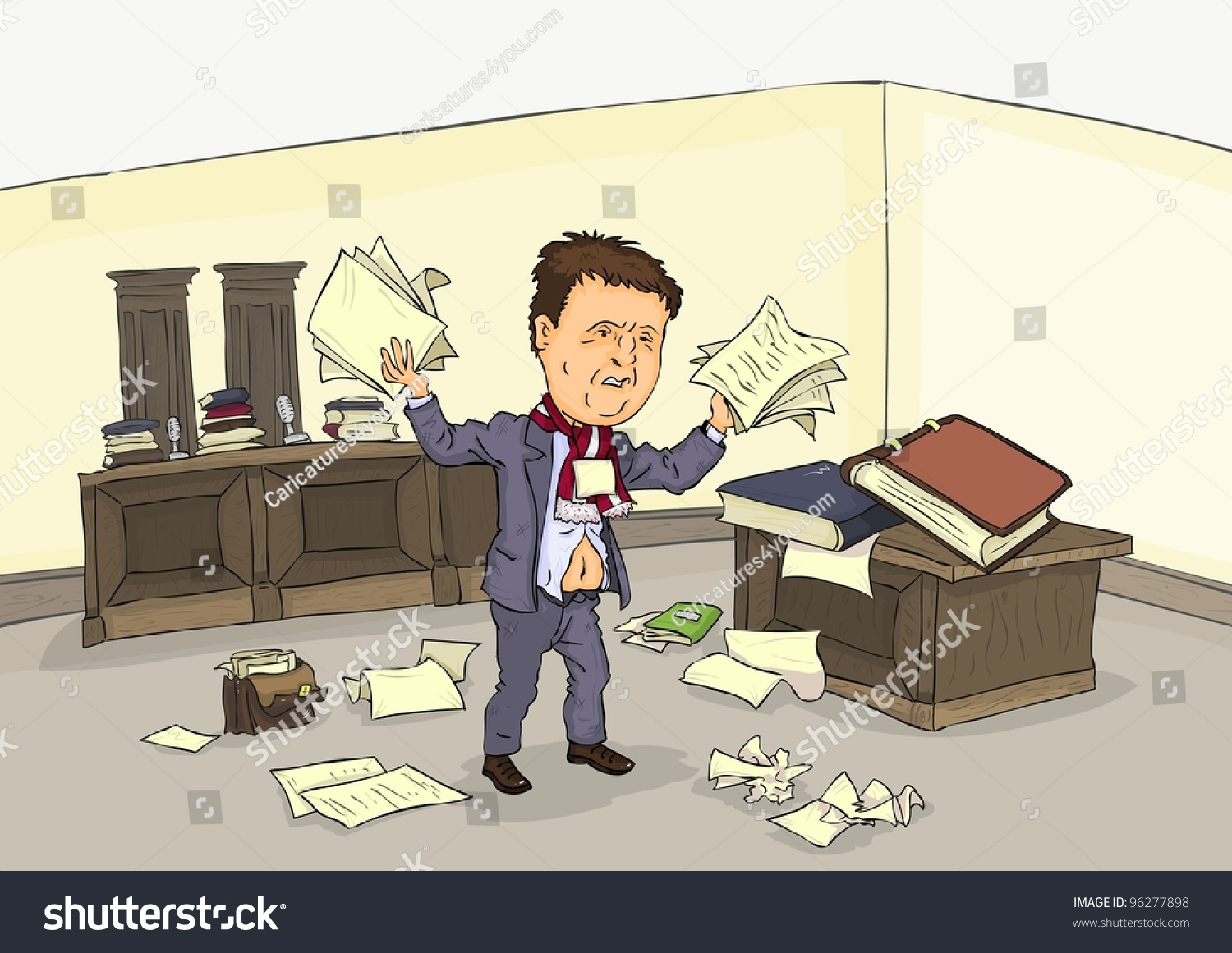 Desperate Man In Court Room With A Pile Of Paper Stock ...