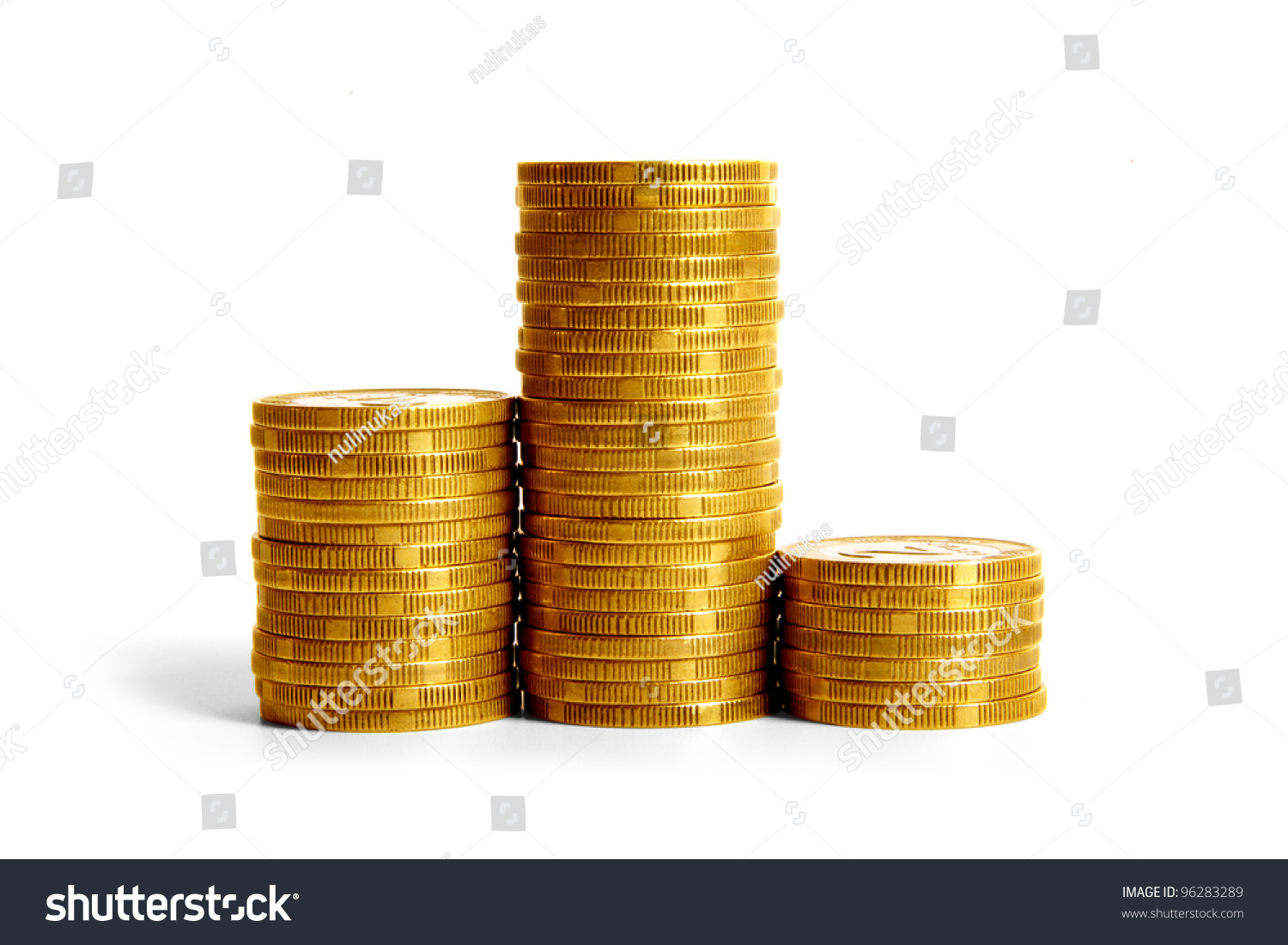 Columns Coins On White Background First Stock Photo Edit