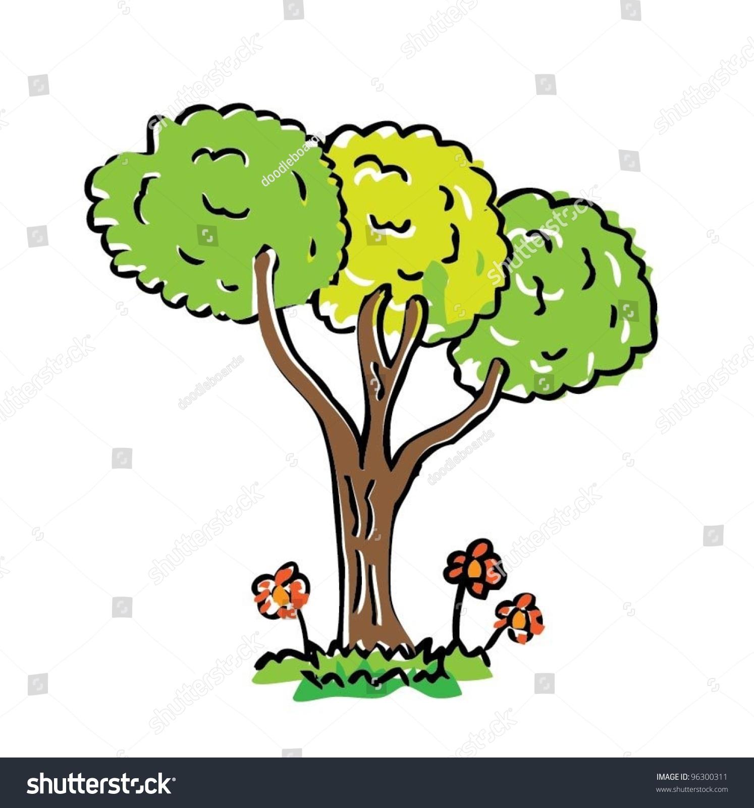 Cartoon Drawing Tree Color Vector Illustration Stock Vector 96300311 ...