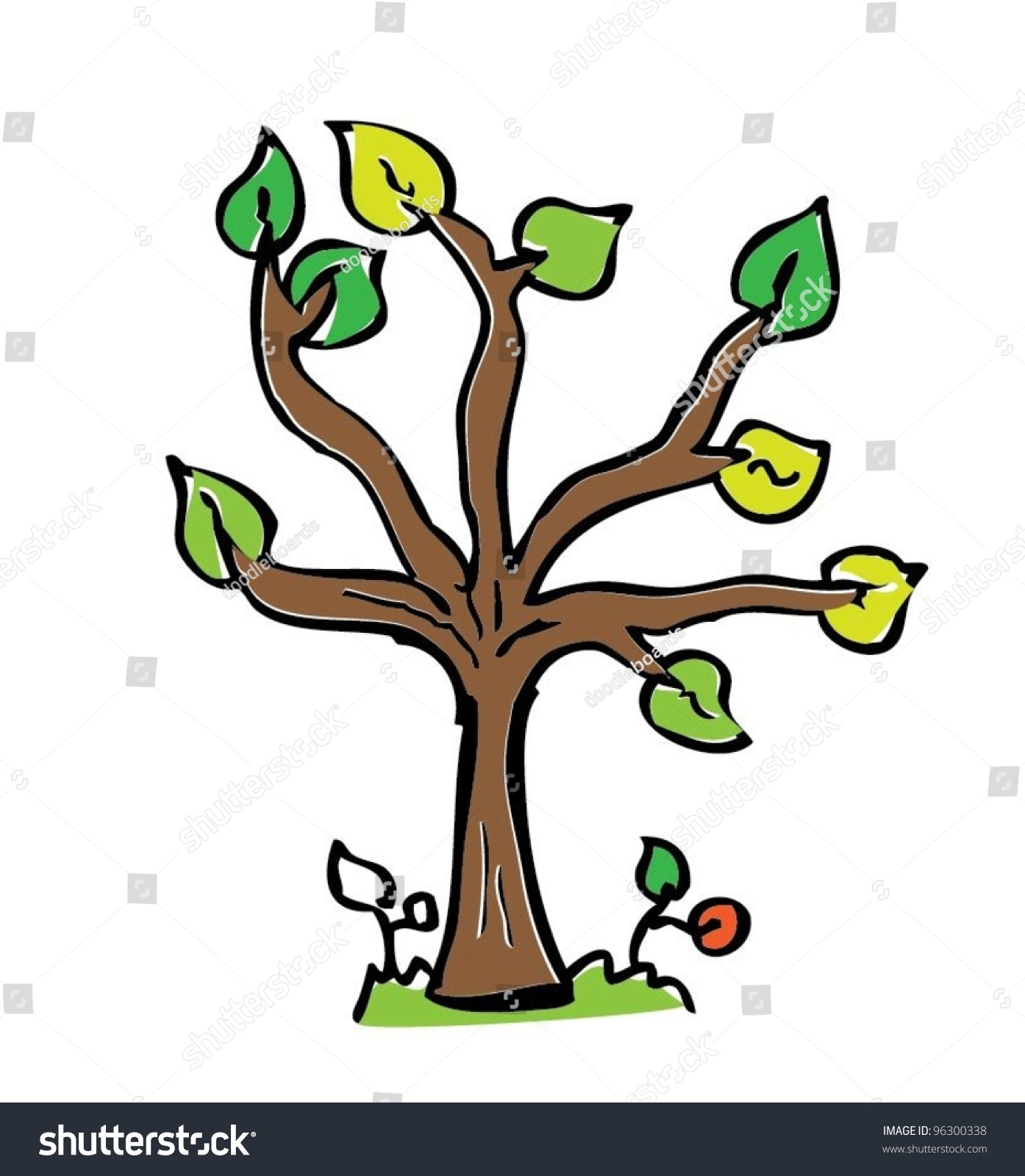Cartoon drawing tree with color vector illustration cute for Cute tree drawing