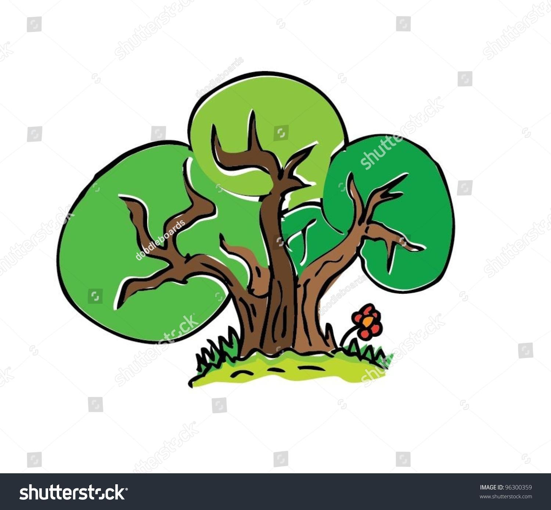 Cartoon Drawing Tree Color Vector Illustration Stock Vector 96300359 ...
