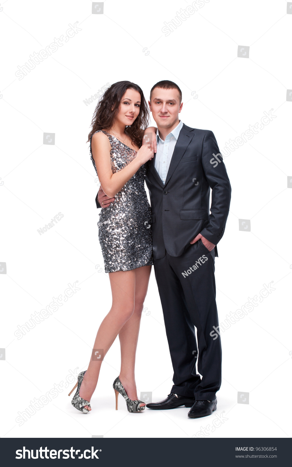 Young Couple Wear Evening Dress Suit Stock Photo 96306854 ...