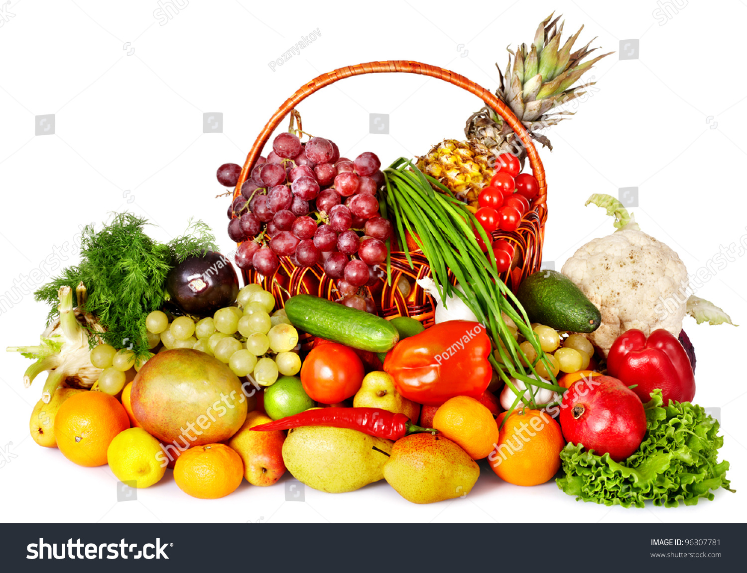 Fruit Vegetable Basket Isolated Stock Photo 96307781 ...