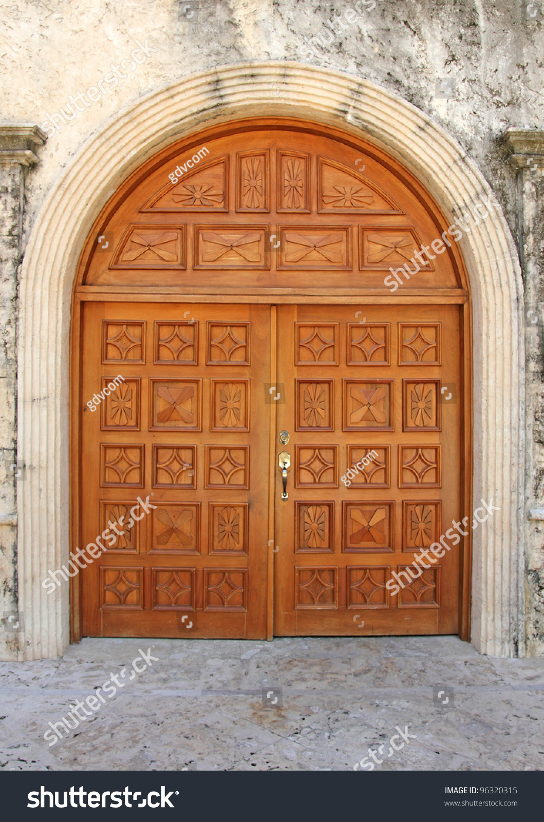 Closeup of a big wooden door entrance stock photo 96320315 for Big entrance door