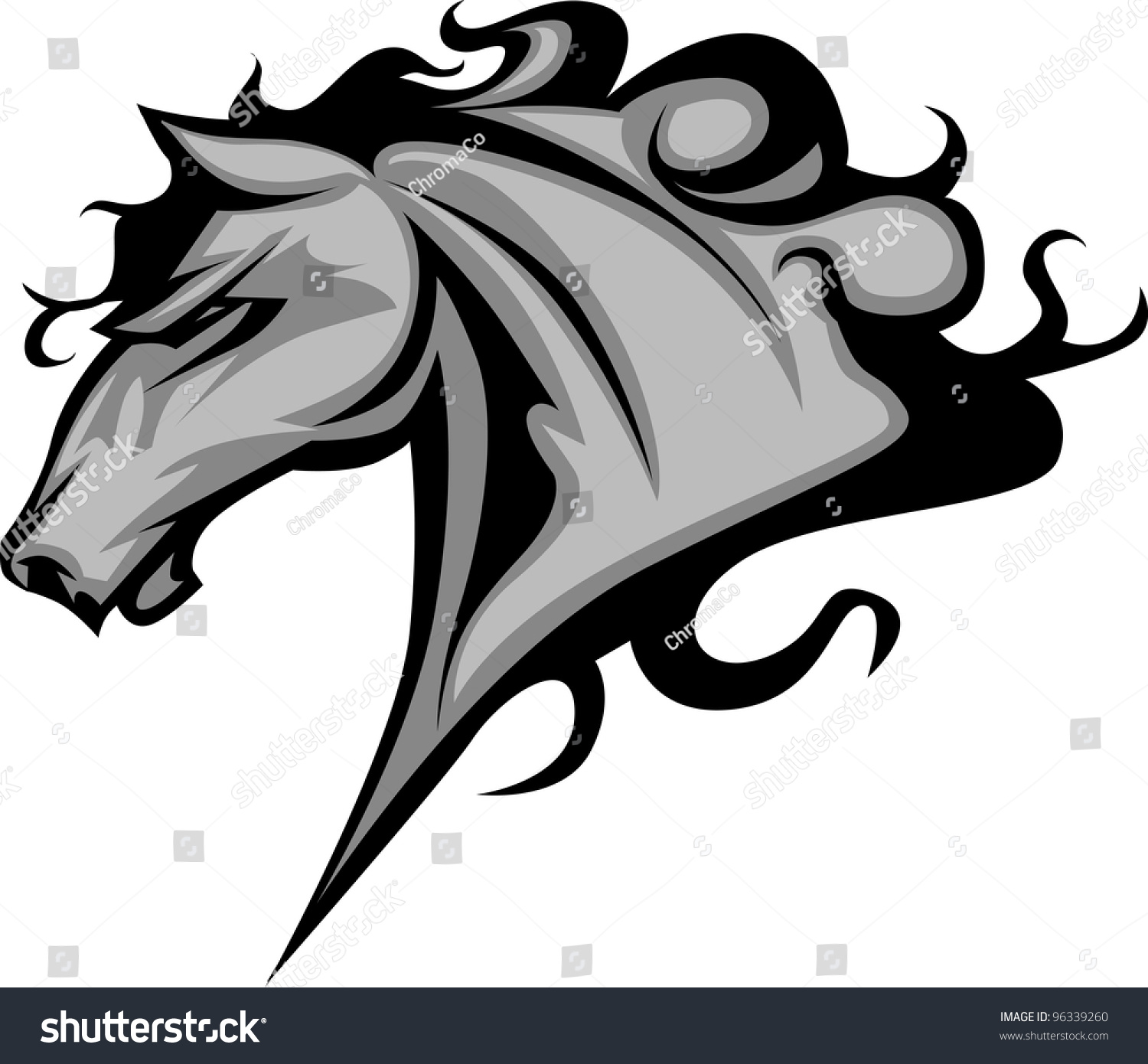 Graphic Mascot Vector Image Of A Mustang Bronco Horse ...